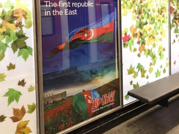 Azərbaycanla bağlı bilbordlar Barselona metrosunda