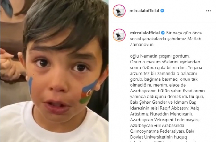 """""""Atam Vətəni seçdi"""" deyən şəhid övladı ziyarət olundu"""
