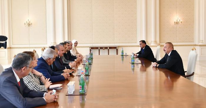 إلهام علييف يستقبل وفدا برئاسة رئيس الجمعية الوطنية الكبرى لتركيا -  صور