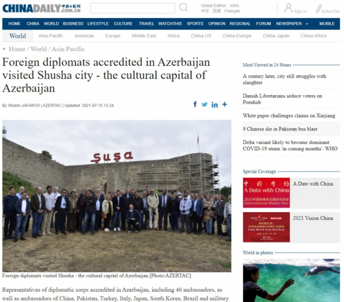 China Daily newspaper publishes article about visit of foreign diplomats to Shusha