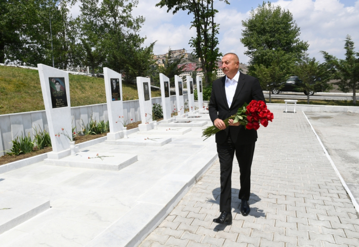 President Ilham Aliyev visits Alley of Martyrs in Dashkasan