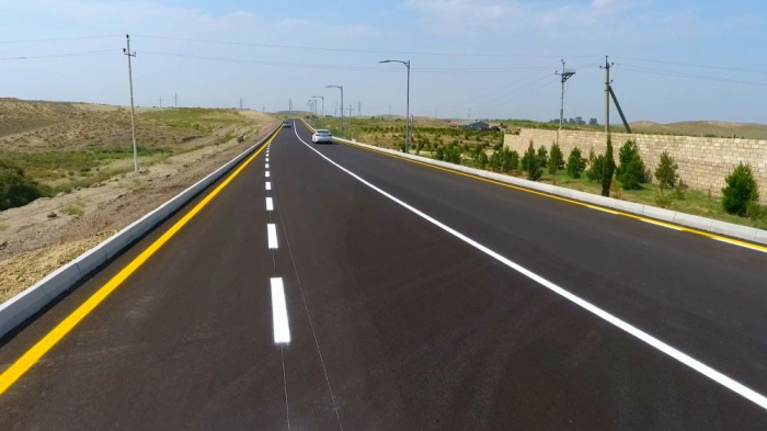 President Aliyev attends opening of highway in Goranboy district