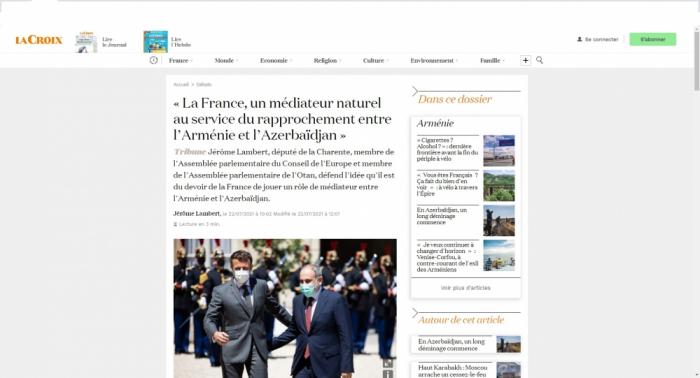 «La France, un médiateur naturel au service du rapprochement entre l'Arménie et l'Azerbaïdjan» - Jérôme Lambert
