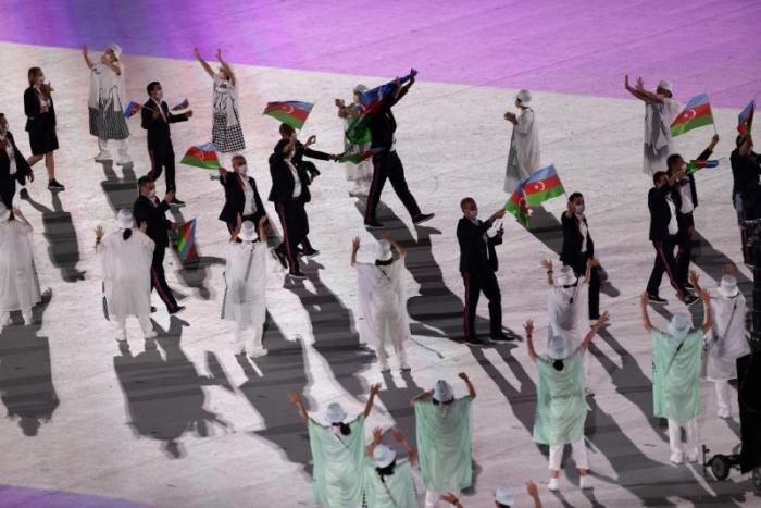 Aserbaidschanische Nationalmannschaft nimmt an der Eröffnung der Olympischen Spiele in Tokio teil -   FOTOS