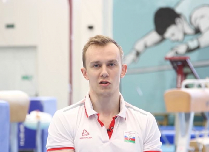 Azerbaijani gymnast performs in vault and parallel bars exercises at 2020 Summer Olympics