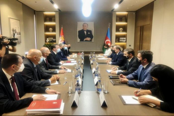 Se lleva a cabo una amplia reunión de cancilleresde Azerbaiyán y Serbia