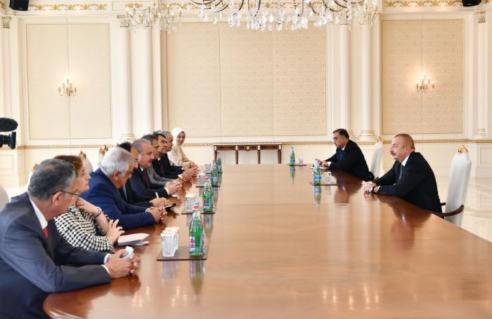 President Aliyev receives delegation led by Turkish parliament speaker