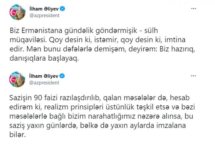 La conclusión resultante de los recientes tuits del presidente de Azerbaiyán-  ANÁLISIS