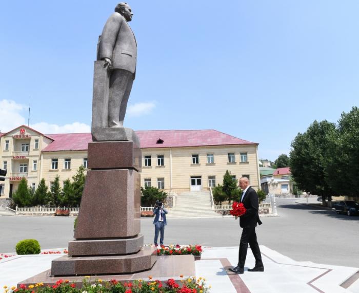 President Ilham Aliyev arrives in Dashkasan district