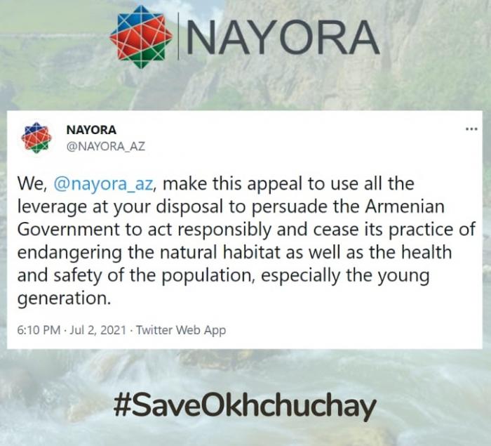 """""""Ermənistanın ekoloji terroruna diqqət yetirin"""" –    NAYORA-dan çağırış"""