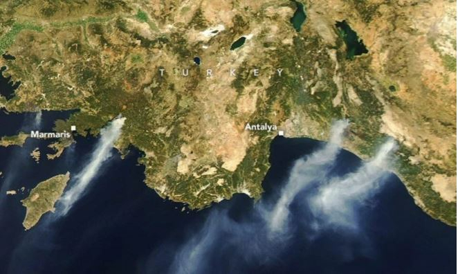 NASA releases satellite images of wildfires in Turkey -   PHOTOS