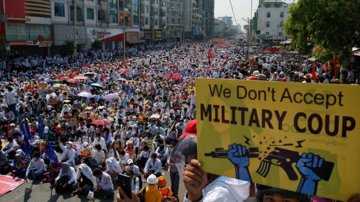 Anti-military protests in Myanmar on anniversary of 1988 uprising