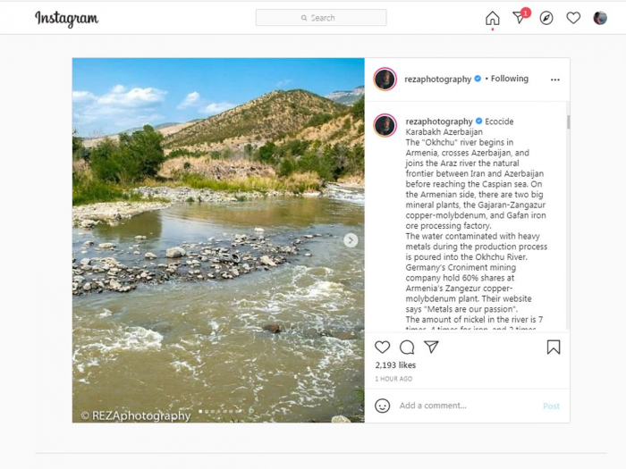Reza Deghati shares postabout ecological disaster as a result of pollution of the Okchuchay river -   PHOTOS