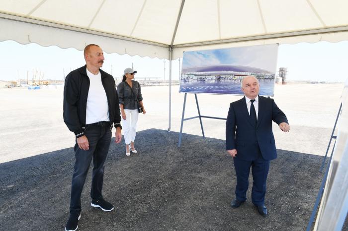 Prezident və birinci xanım Füzuli Beynəlxalq Hava Limanında olublar -