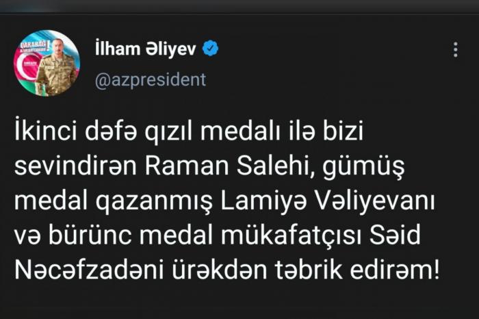 Prezidenti Paralimpiya oyunlarında medal qazanan idmançıları təbrik edib