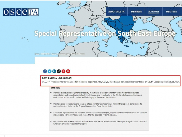 Azay Quliyev ATƏT PA-nın Cənub-Şərqi Avropa üzrə Xüsusi Nümayəndəsi təyin edilib