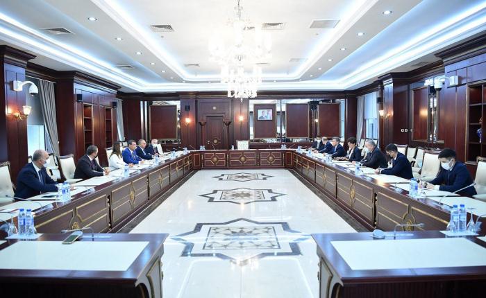 Sahiba Gafarova trifft sich mit kasachischer Delegation
