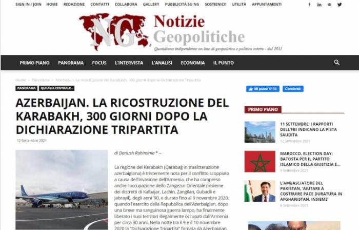La prensa italiana cubre las obras de construcción y reconstrucción en Karabaj