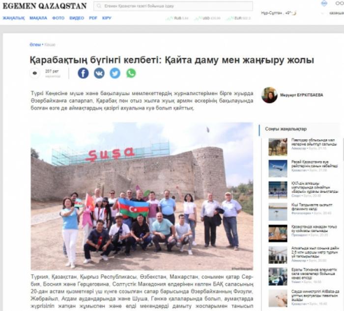 El periódico kazajo escribe sobre Karabaj
