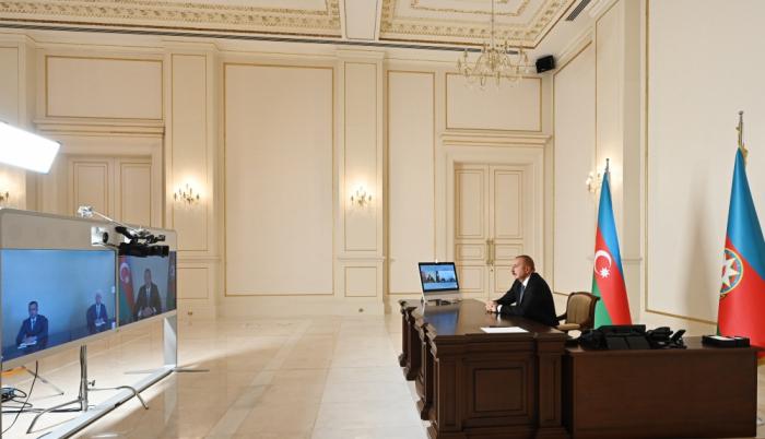 El Presidente de Azerbaiyán recibe a los jefes recién nombrados del Poder Ejecutivoen formato de vídeo