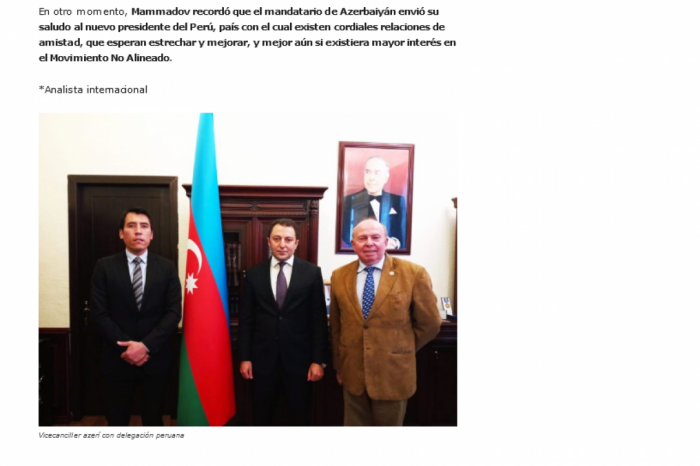 La entrevista del vicecanciller azerbaiyano es publicada en la prensa peruana