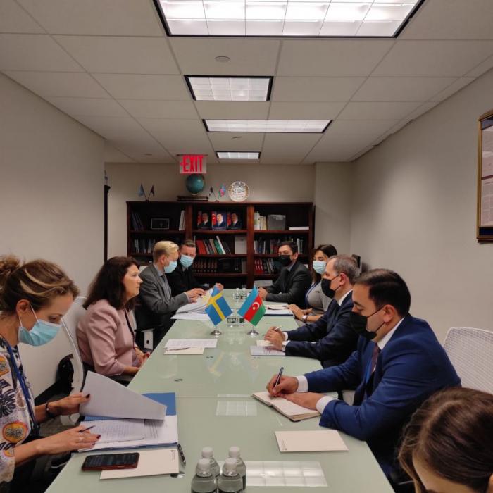 Dscheyhun Bayramov trifft sich mit amtierender Vorsitzende der OSZE in New York