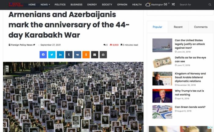 """""""Foreign Policy"""" 44 günlük müharibənin ildönümündən yazıb"""
