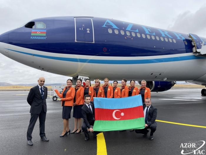 """AZAL's """"KARABAKH"""" aircraft lands at the Fuzuli Airport"""