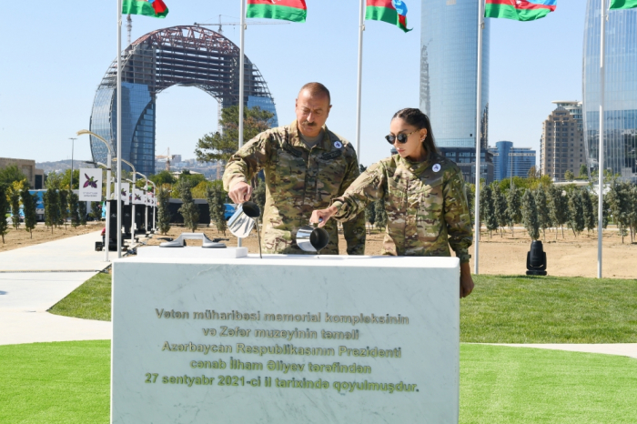 President Aliyev lays foundation stone for Patriotic War Memorial Complex and Museum of Victory