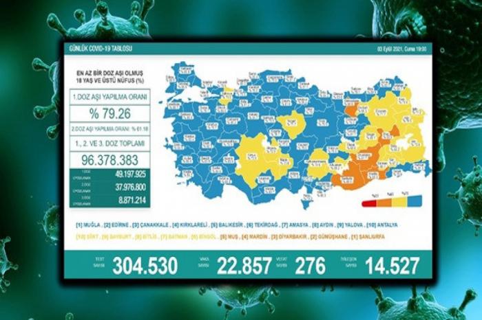 Türkiyədə ötən gün koronavirusdan 276 nəfər ölüb