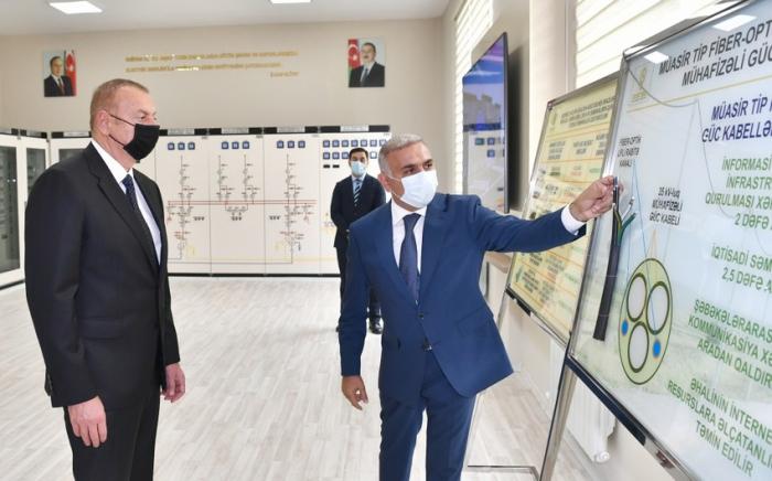 İlham Əliyev yarımstansiyanın açılışında