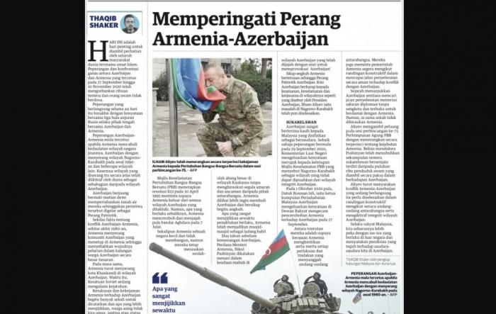 Malayziyalı jurnalist:    Ermənistanın təkəbbürü cəmi 44 gün davam etdi