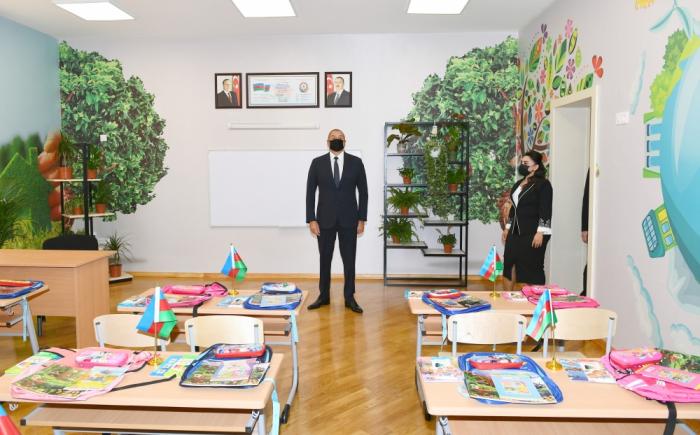 El presidente Ilham Aliyev inauguró la escuela secundaria nº 307 tras una importante reforma y reconstrucción
