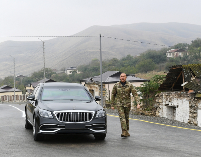 President Ilham Aliyev raised Azerbaijani flag in Talish village of Tartar district