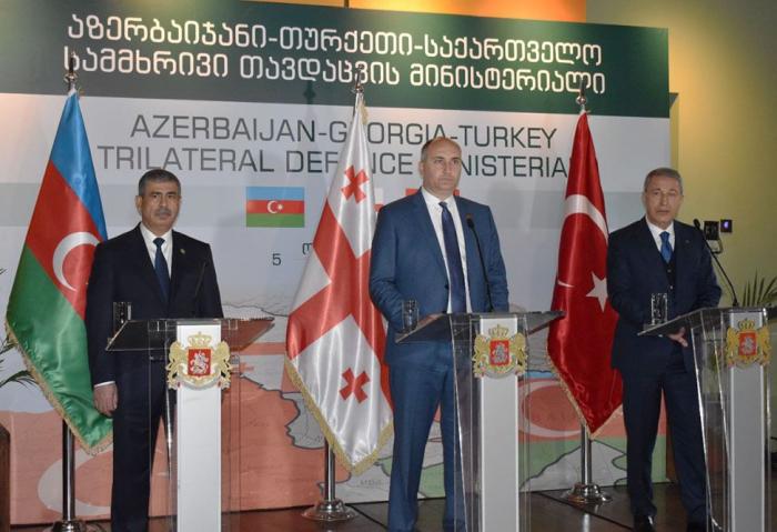 Azerbaijani, Turkish, Georgian Defense Ministers held joint press conference in Georgia