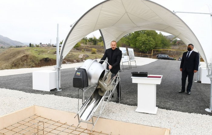 President Ilham Aliyev lays foundation for new mosque in Hadrut settlement