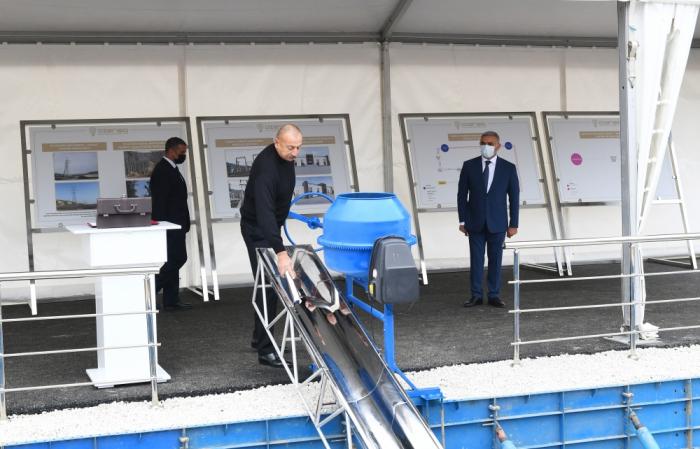 """Präsident Ilham Aliyev legt Grundstein für neues Umspannwerk """"Hadrut"""""""
