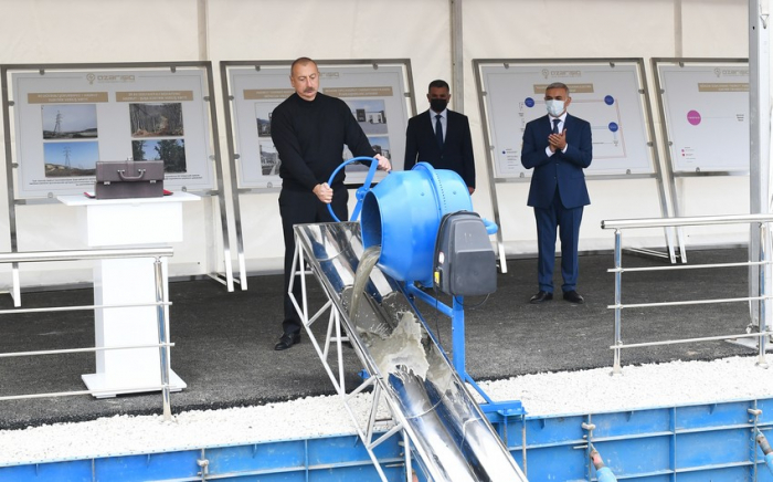 President Aliyev lays foundation for junction substation in Hadrut