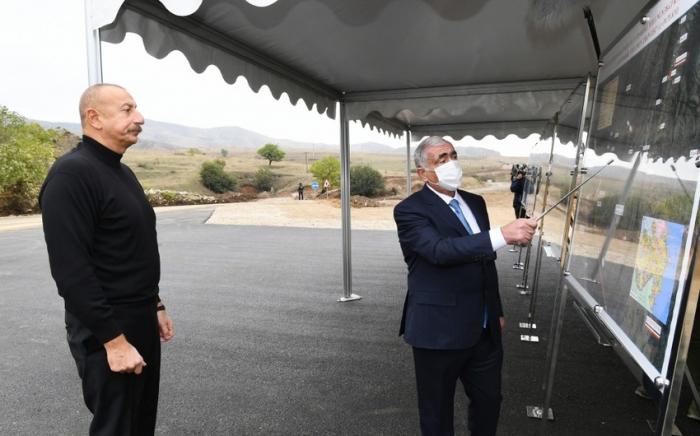 Ilham Aliyev views construction work on Hadrut-Jabrayil-Shukurbayli, Tugh-Hadrut and Fuzuli-Hadrut highways
