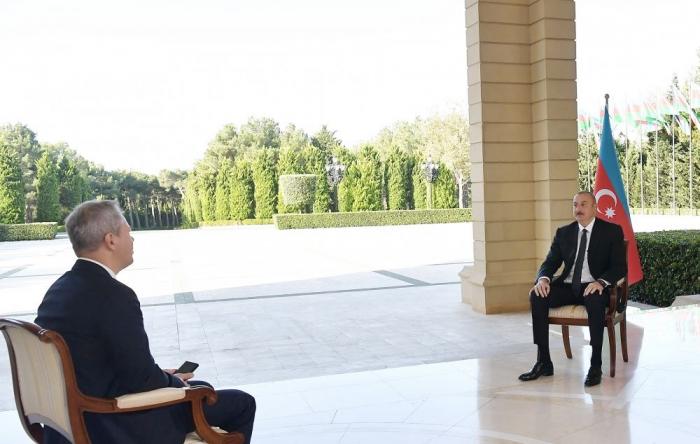 Russian RBC TV channel interviews President Ilham Aliyev on October 10, 2020