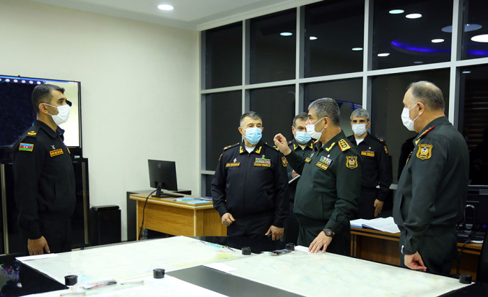 Azerbaijan's military leadership views process of command and staff exercises of Naval Forces