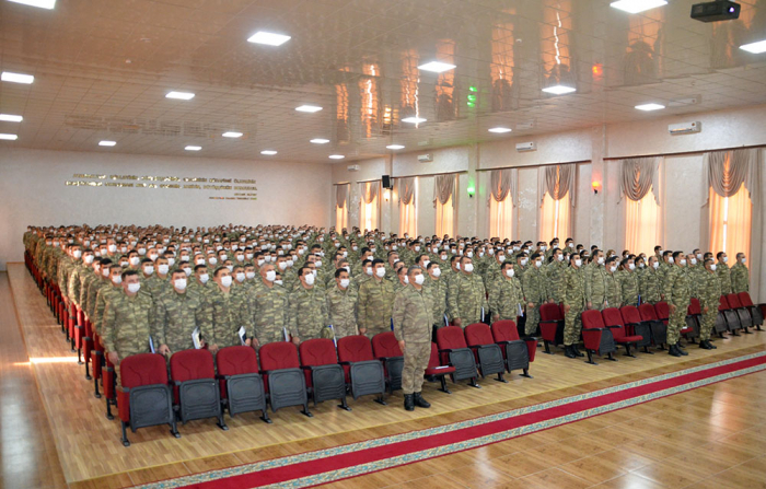 A group of servicemen taking part in the Resolute Support Mission in Afghanistan awarded