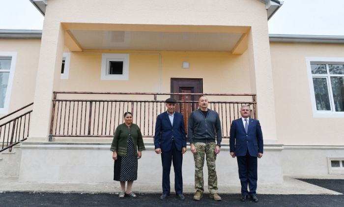 President Aliyev views conditions created in new house built on site of one destroyed by Armenia's missile attacks on Tartar