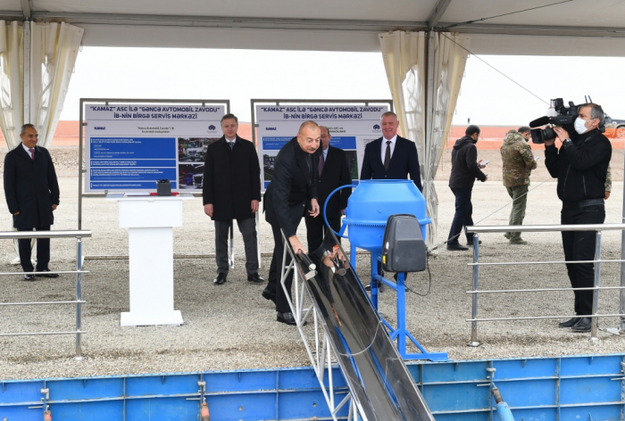 President Aliyev attends groundbreaking ceremony of joint service center of KAMAZ OJSC and Ganja Automobile Plant Production Association - UPDATED