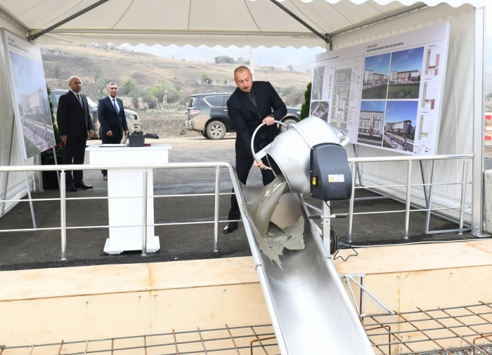 Azerbaijani president lays foundation stone for secondary school named after academician Mehdi Mehdizade in Jabrayil