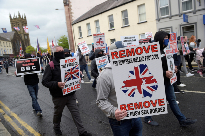 Protesters took to London streets against Northern Ireland Protocol