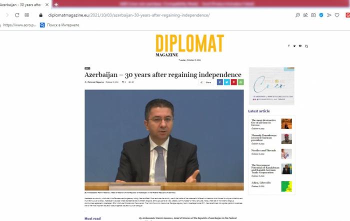 Diplomat Magazine: Azerbaijan – 30 years after regaining independence