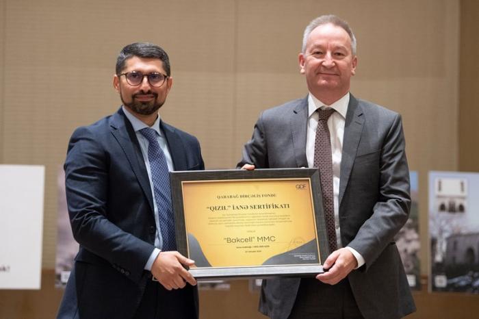 """Bakcell """"Qızıl"""" İanə sertifikatı ilə təltif edilib"""