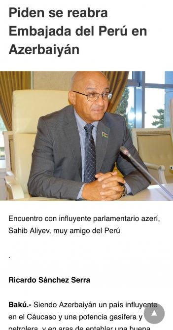 Sahib Alıyevin müsahibəsi Peru saytında