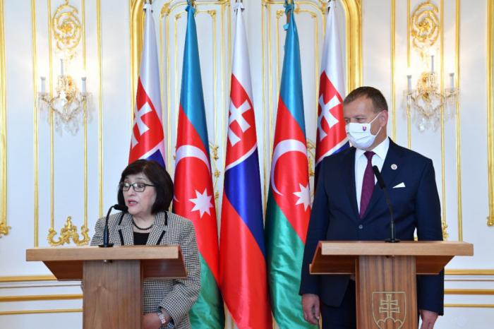 Les présidents des parlements azerbaïdjanais et slovaquetiennent une conférence de presse conjointe